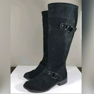 Women's Black Suede Flat Riding Boots Size 7.5